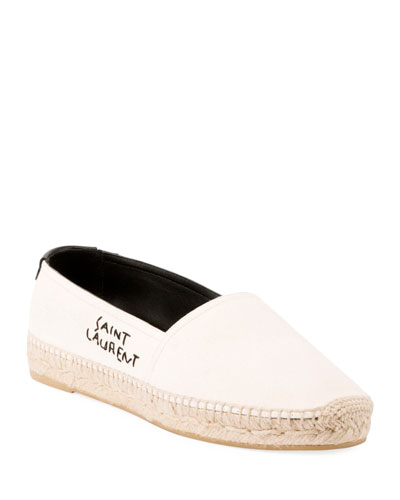 LOGO-EMBROIDERED LEATHER-TRIMMED CANVAS ESPADRILLES