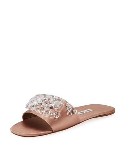 Jeweled Satin One-Band Slide Sandal