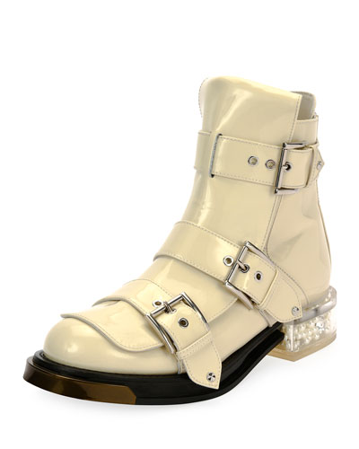 Patent Buckle Boot with Display Heel