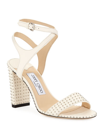 fd3fb2768 Marine Studded Leather Block-Heel Ankle-Strap Sandal Quick Look. Jimmy Choo