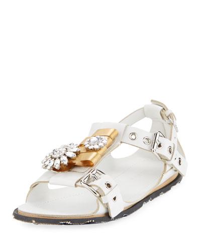 Two-Tone Jeweled Flat Sandal