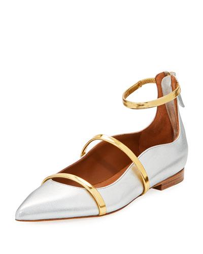 Robyn Metallic Napa Ankle-Strap Flat