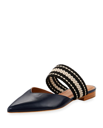Hannah Mixed Flat Mule, Navy