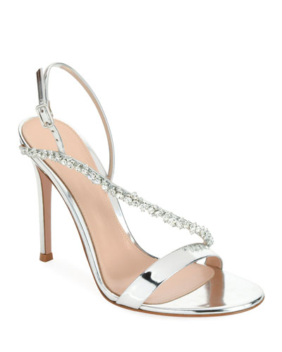 Asymmetric Metallic Strass Sandal