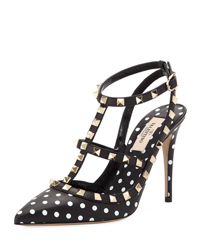 Rockstud Dotted Leather Pump