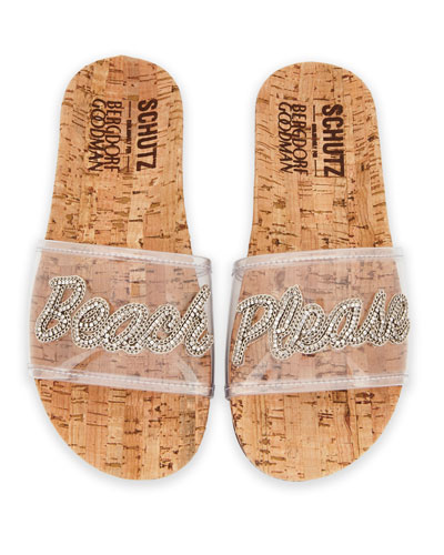 Beach Please Flat Vinyl Slide Sandal