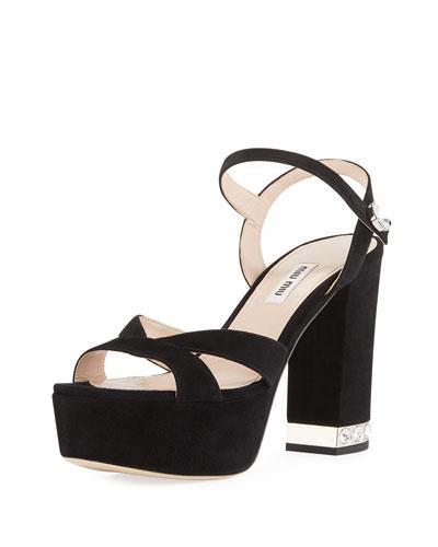 346febcbe018 Suede Chunky-Heel Platform Sandal