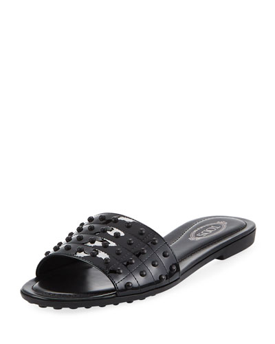 Gommini Studded Slide Sandal, Black