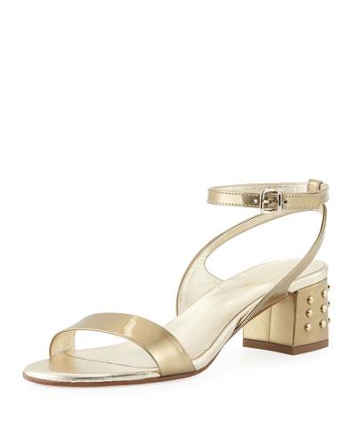 Gommini Mid-Heel Metallic Sandal