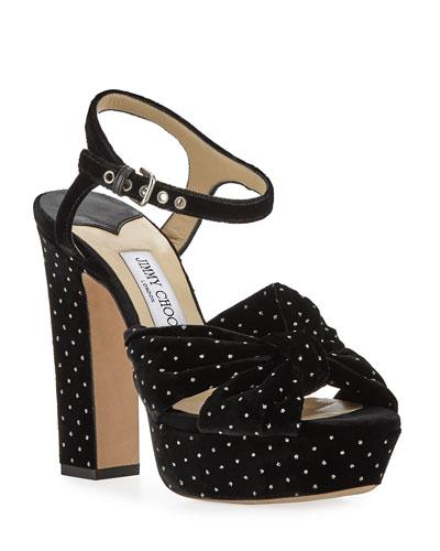 Heloise Glitter Spotted Velvet Platform Sandal
