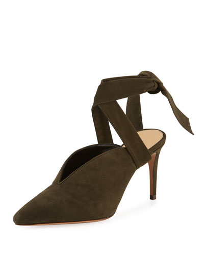 Sally Suede Ankle-Tie Pumps