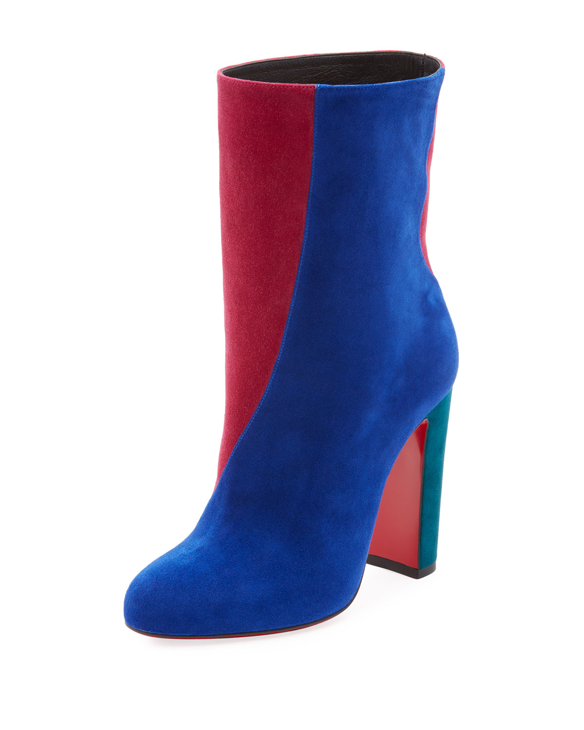 CHRISTIAN LOUBOUTIN BOTTY DOUBLE COLORBLOCK SUEDE RED SOLE BOOTIE