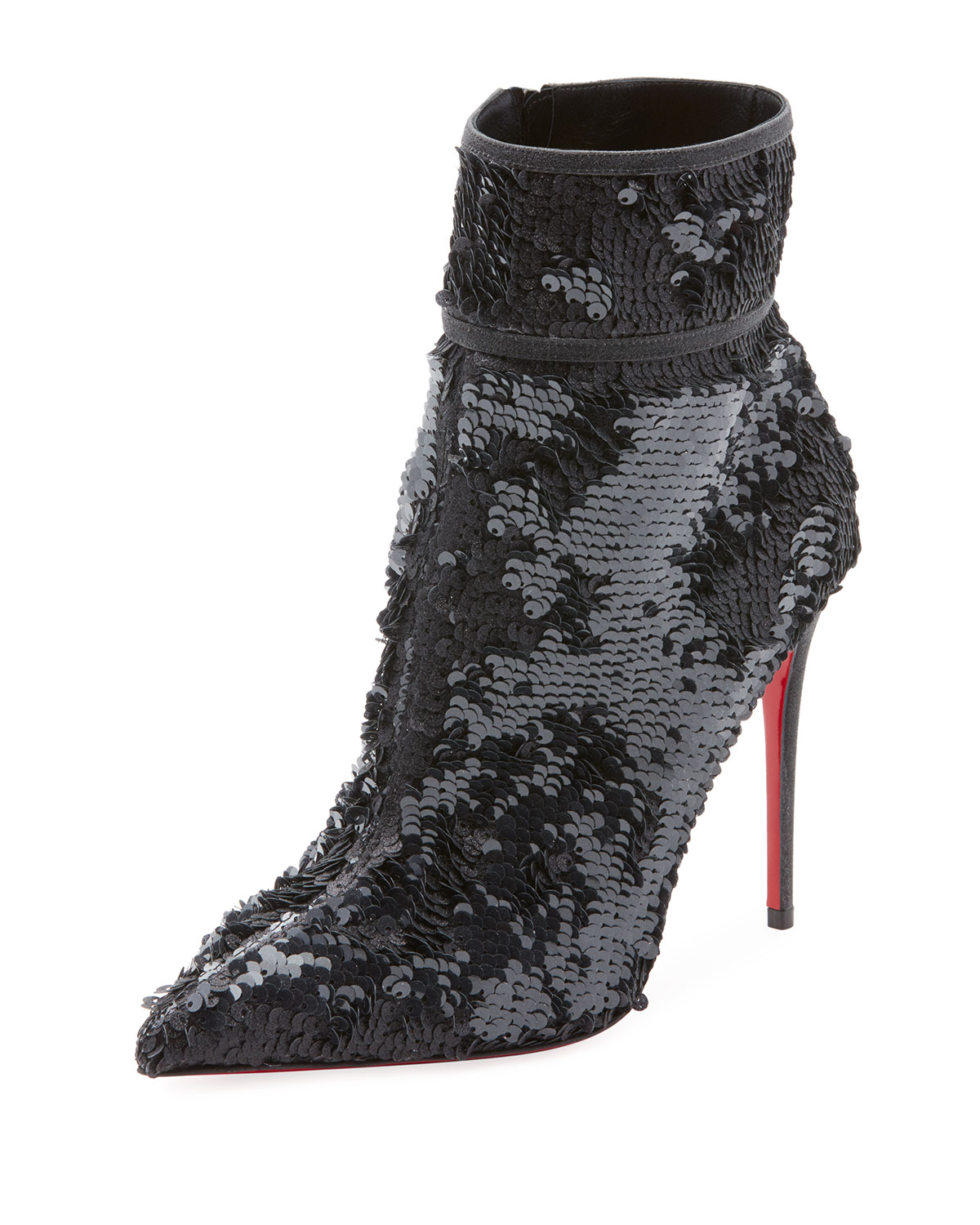 CHRISTIAN LOUBOUTIN MOULA KATE SEQUIN RED SOLE BOOTIE