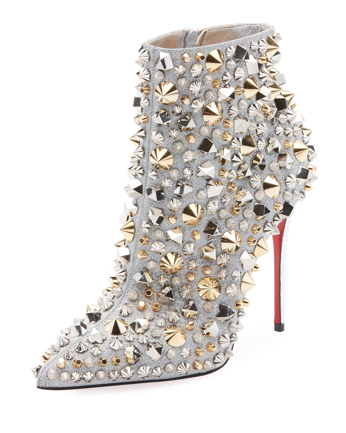 CHRISTIAN LOUBOUTIN SO FULL KATE STUDDED METALLIC LEATHER RED SOLE BOOTIE