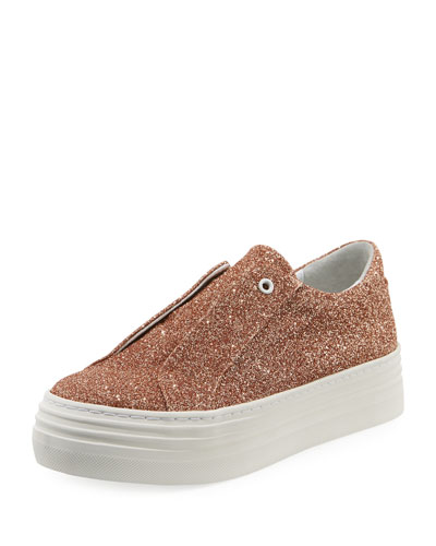 Rosie Glitter Laceless Slip-On Platform Sneakers, Rose Gold