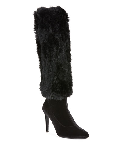 Velvet Knee Boots with Fur Trim