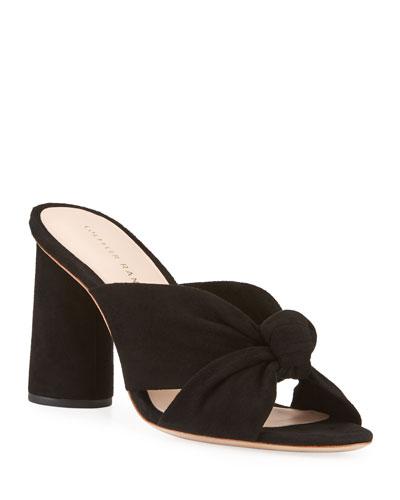 Coco Knotted Suede Block-Heel Slide Sandal