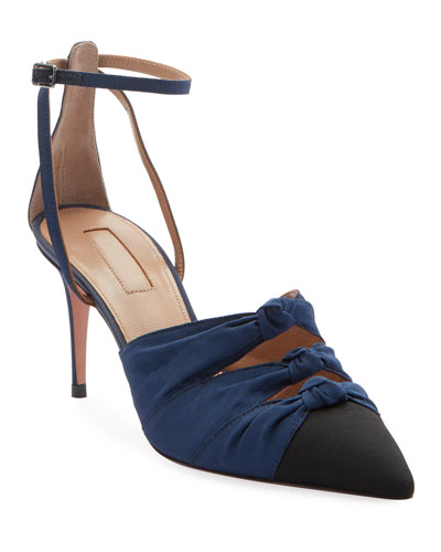Mondaine Mid-Heel Grosgrain Ankle-Wrap Pumps