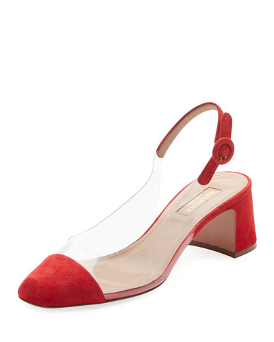 Optic Suede PVC Slingback Pumps