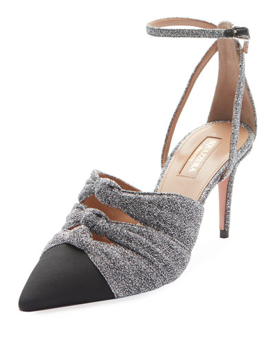 Mondaine Glitter Mid-Heel Ankle-Wrap Pumps