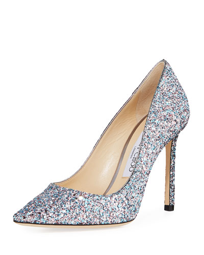 Romy 100mm Coarse Glitter Fabric Pointed-Toe Pumps