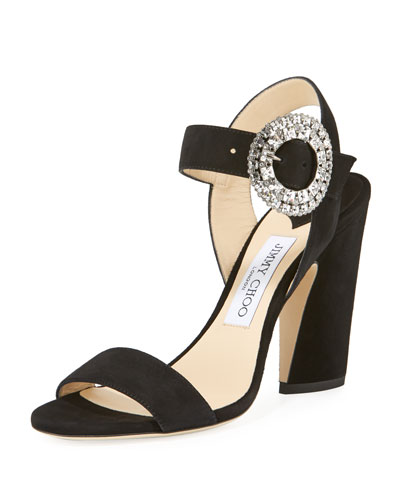 Mischa Suede Sandal w/ Crystal Buckle