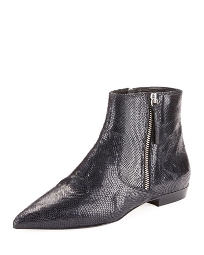 Dawnie Snake-Embossed Booties