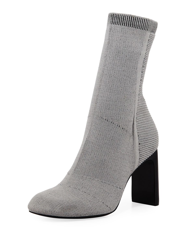 Ellis Slim-Knit Ankle Boot, Gray