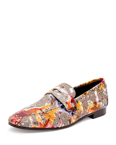 Flaneur Watercolor Lizard Flat Loafers