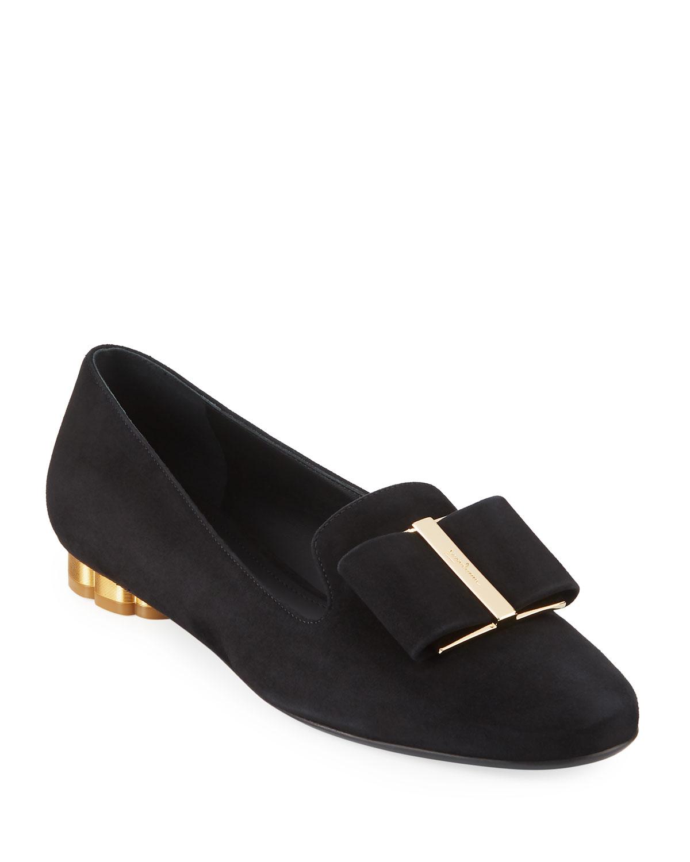 Salvatore Ferragamo Women's Sarno Flower Heel Smoking Loafer j6n0l