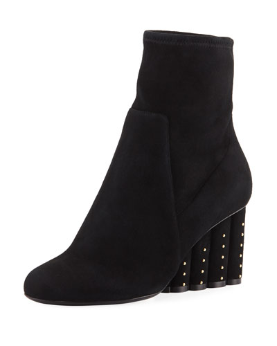 Suede Booties with Studded Heel
