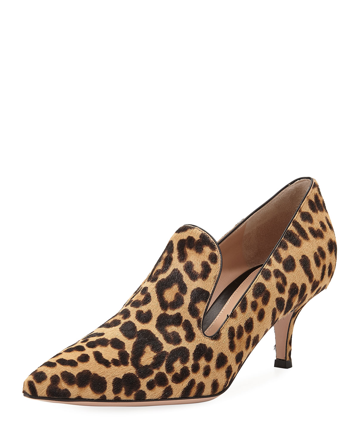 Leopard-Print Calf Hair Loafer Pump