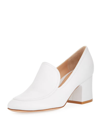 Marcel 60mm Leather Block-Heel Loafer Pumps