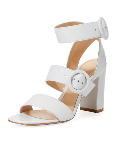 Circle Buckle Napa Strappy Block-Heel Sandal