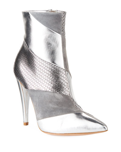Multi-Textile Metallic Booties