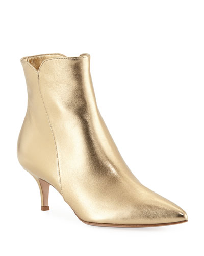 Metallic Pointed-Toe Booties