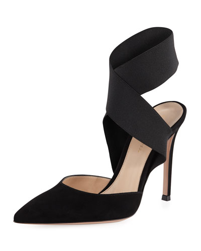 Suede Pump with Crisscross Elastic Strap