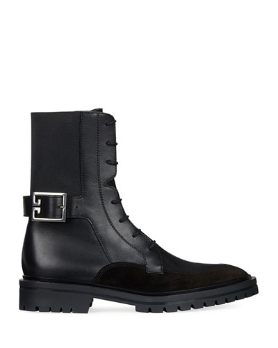 Aviator Leather/Suede Ankle Boot