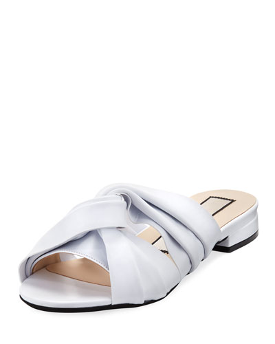 Leather Knot Flat Slide Sandals