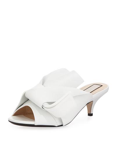 Pleated Napa Leather Low-Heel Slide Sandal