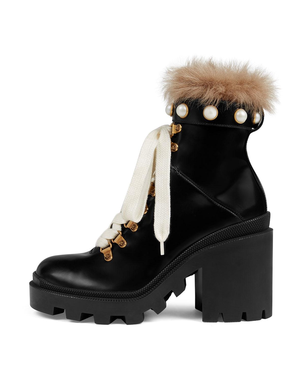 Trip Combat Boot with Fur Trim