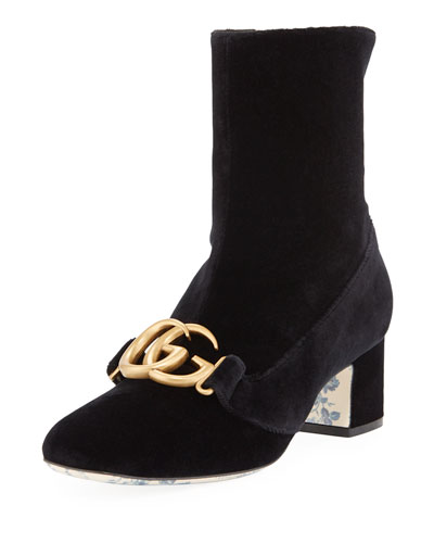 Velvet Mid-Heel Booties with GG Detail
