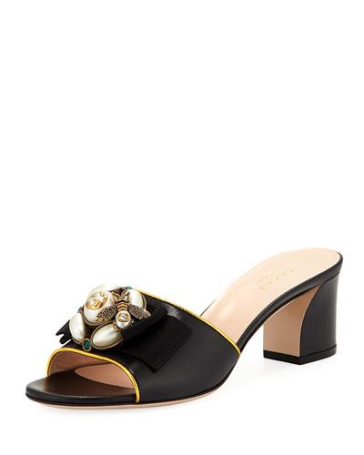 Embellished Leather Slide Sandals