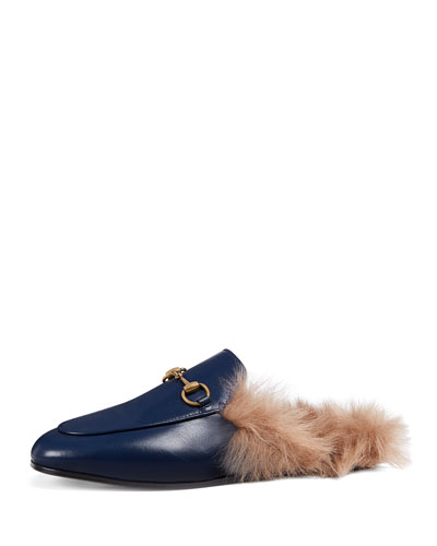 Fur-Lined Leather Mule Slippers