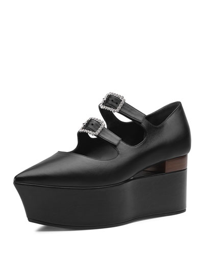 Leather Flatform Mary Jane Pumps