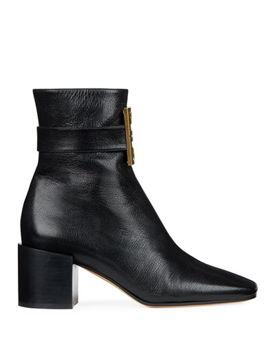 4G Logo Leather Block-Heel Ankle Boots