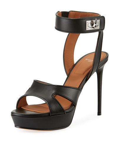 Shark-Lock Leather Platform Sandal