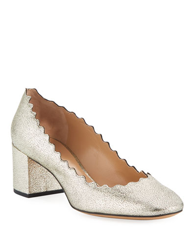 Lauren 50mm Scalloped Metallic Leather Block-Heel Pumps