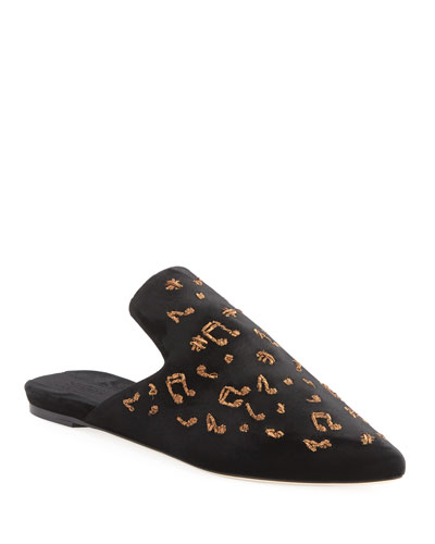 Puccini Embroidered Slipper Mule
