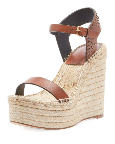 Leather Platform Wedge Espadrille Sandal